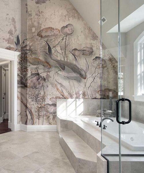 Luxury master bath with step up tub